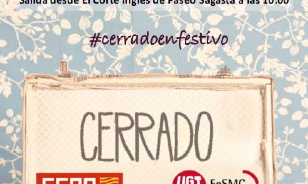 Manifestación ante la apertura comercial en festivos en Aragón