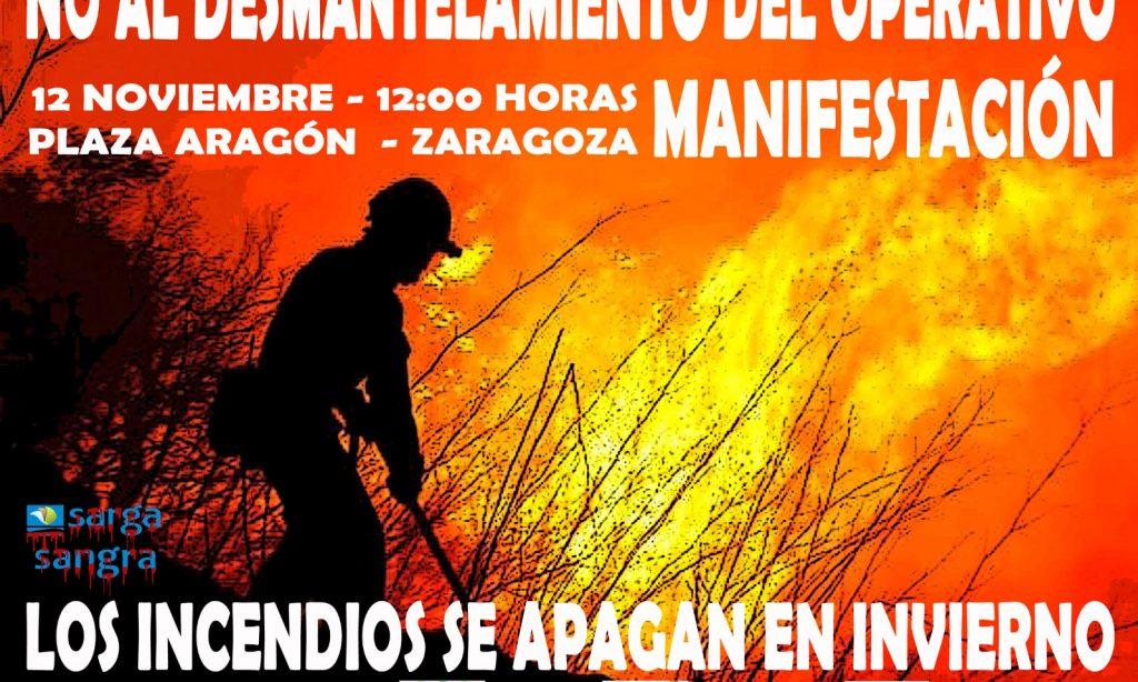 """Manifestación: """"No al desmantelamiento del Operativo Forestal de Aragón"""""""