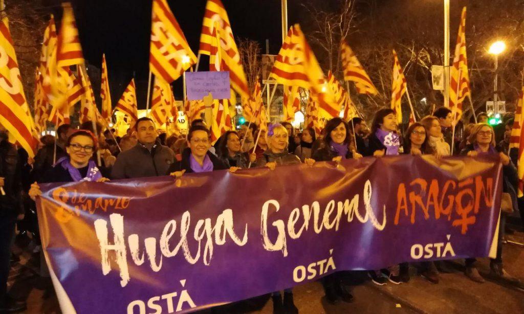 Éxito de participación en las movilizaciones feministas en Aragón