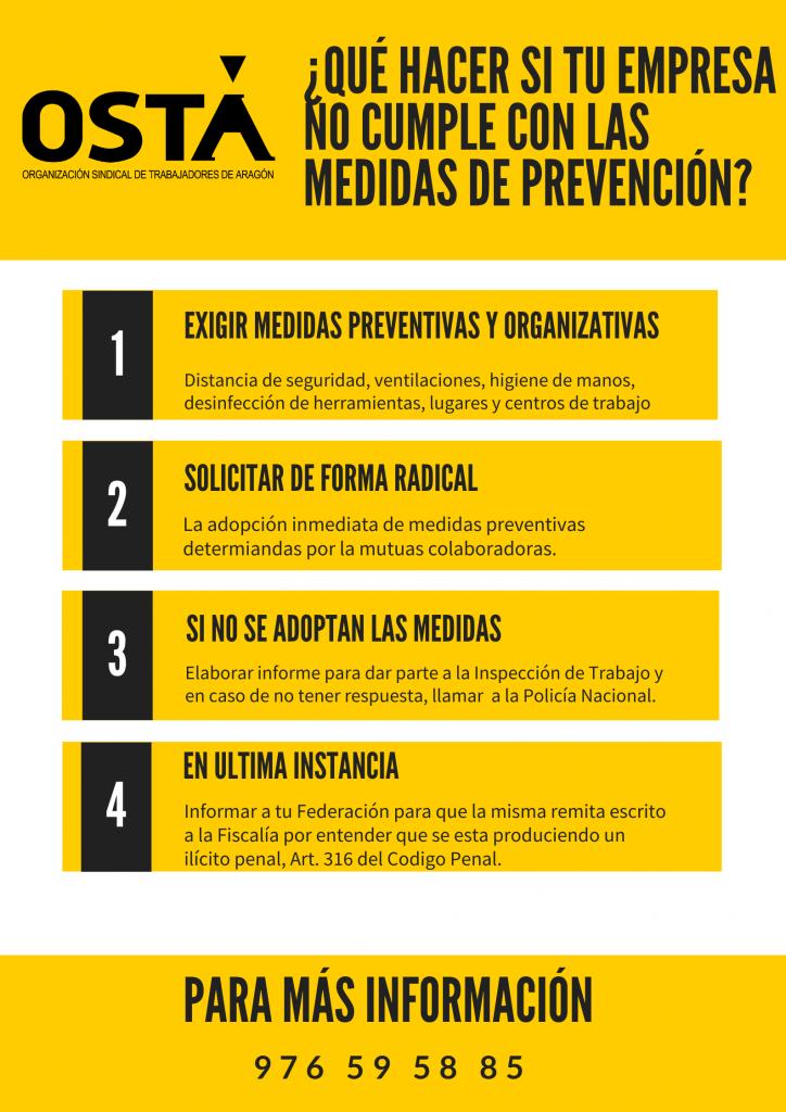 Desde OSTA denuncian que numerosas empresas en Aragón no están cumpliendo con las normas sanitarias marcadas, lo que pone en peligro la salud de los y las trabajadoras.