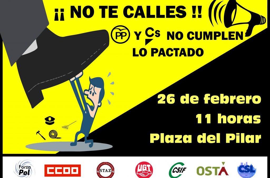 Concentración por el acuerdo de junta de portavoces en el Ayuntamiento de Zaragoza